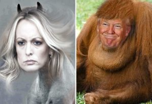 horse face stormy daniels vs orangutan donald trump