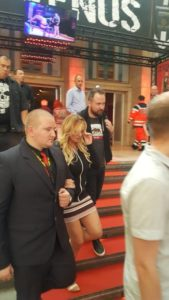 Stormy Daniels with bodyguards at the VENUS Berlin 2018