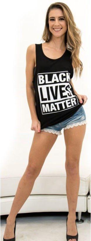 """Model in """"Black Lives Matter"""" Top"""